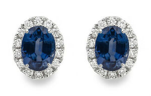 18Carat-White-Gold-Natural-Oval-Blue-Sapphire-amp-Diamond-Cluster-Earrings