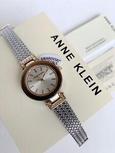 Anne Klein Watch * 1907SVRT Swarovski Rose Gold and Silver Chain Strap for Women