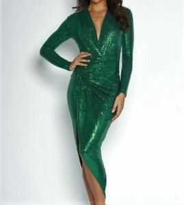 JOHN-ZACK-FOREST-GREEN-SEQUIN-PLUNGE-V-NECK-WRAP-OVER-DRESS
