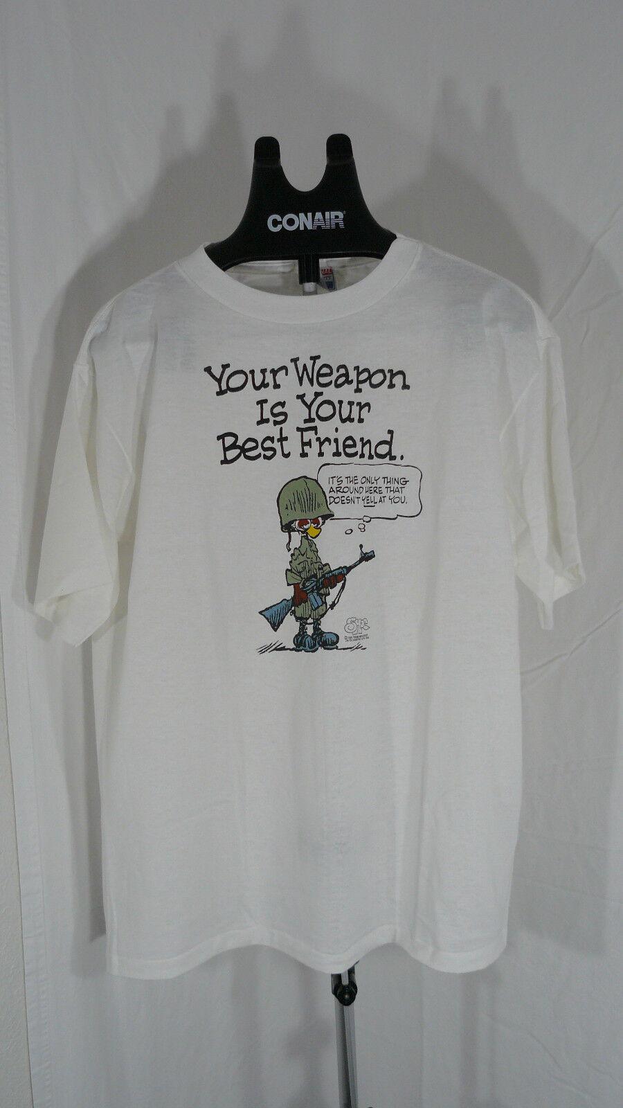 80s vintage Weapon is your Best Friend cartoon white t shirt XL USMC Army