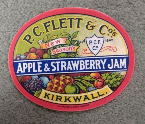 Vintage P.C FLETT /& CO KIRKWALL Original Jam Jar Label  APPLE /& STRAWBERRY