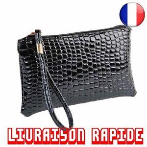 Portefeuille-Sac-A-Main-Femmes-Crocodile-Cuir-Porte-Monnaie-Pochette-Portable