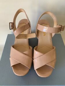 06be6f6b63f4 PRADA DONNA CORK SLING WEDGE CIPRIA PATENT LEATHER SANDAL 37.5 US ...