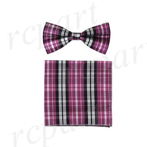 New formal Men/'s Pre-tied Bow Tie /& hankie set plaids /& checkers red wedding