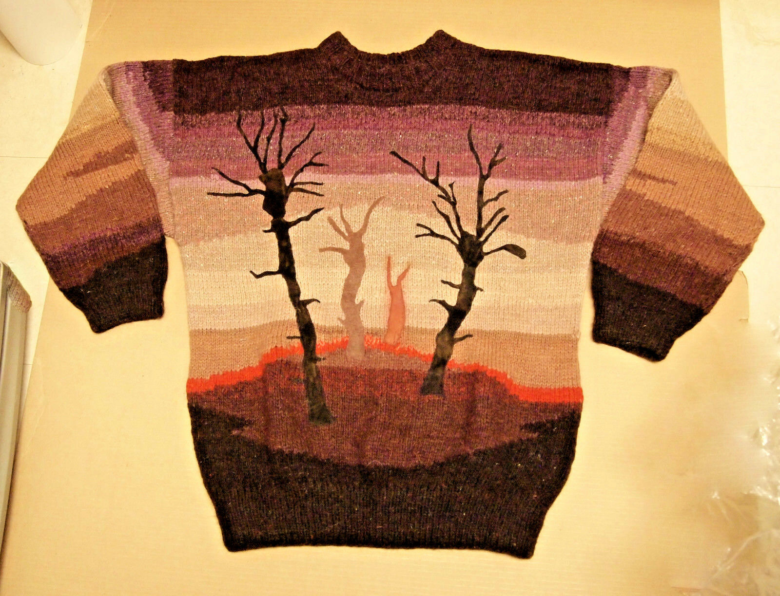 Artisans Art Hand-Knited  Wool & Suede Leather Sweater for Her Large Size
