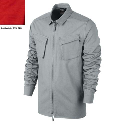 NWT$80 Men L NIKE SB VISTA WOVEN LONG-SLEEVE STRETCH Gym Red Full Zip Shirt