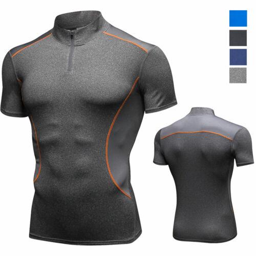 Men/'s Compression Top 1//4 Zipper Mock Neck Gym Moisture Wicking Slim fit T-shirt