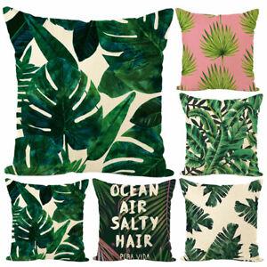 Am-45x45cm-Green-Leaves-Throw-Pillow-Case-Cushion-Cover-Bed-Car-Home-Decor-Sera