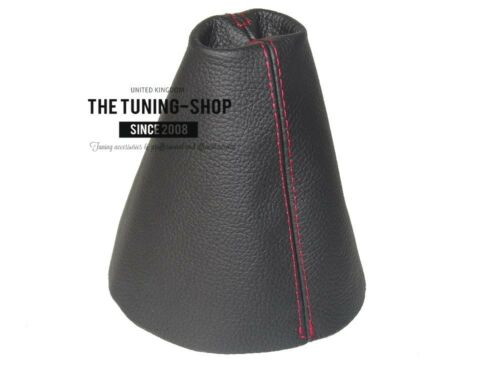 For Skoda Roomster 2006-14 Gear Stick Gaiter Black Genuine Leather Red Stitching