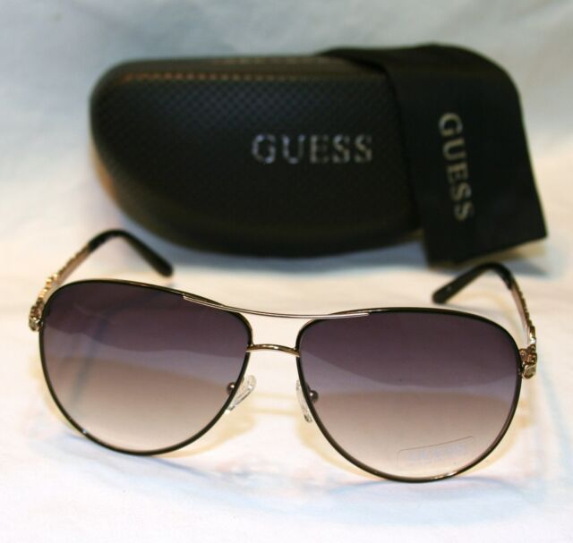 Authentic GUESS GU7032 BLK 35 Women's Aviator Sunglasses Gray Lens GOLD TONE NEW