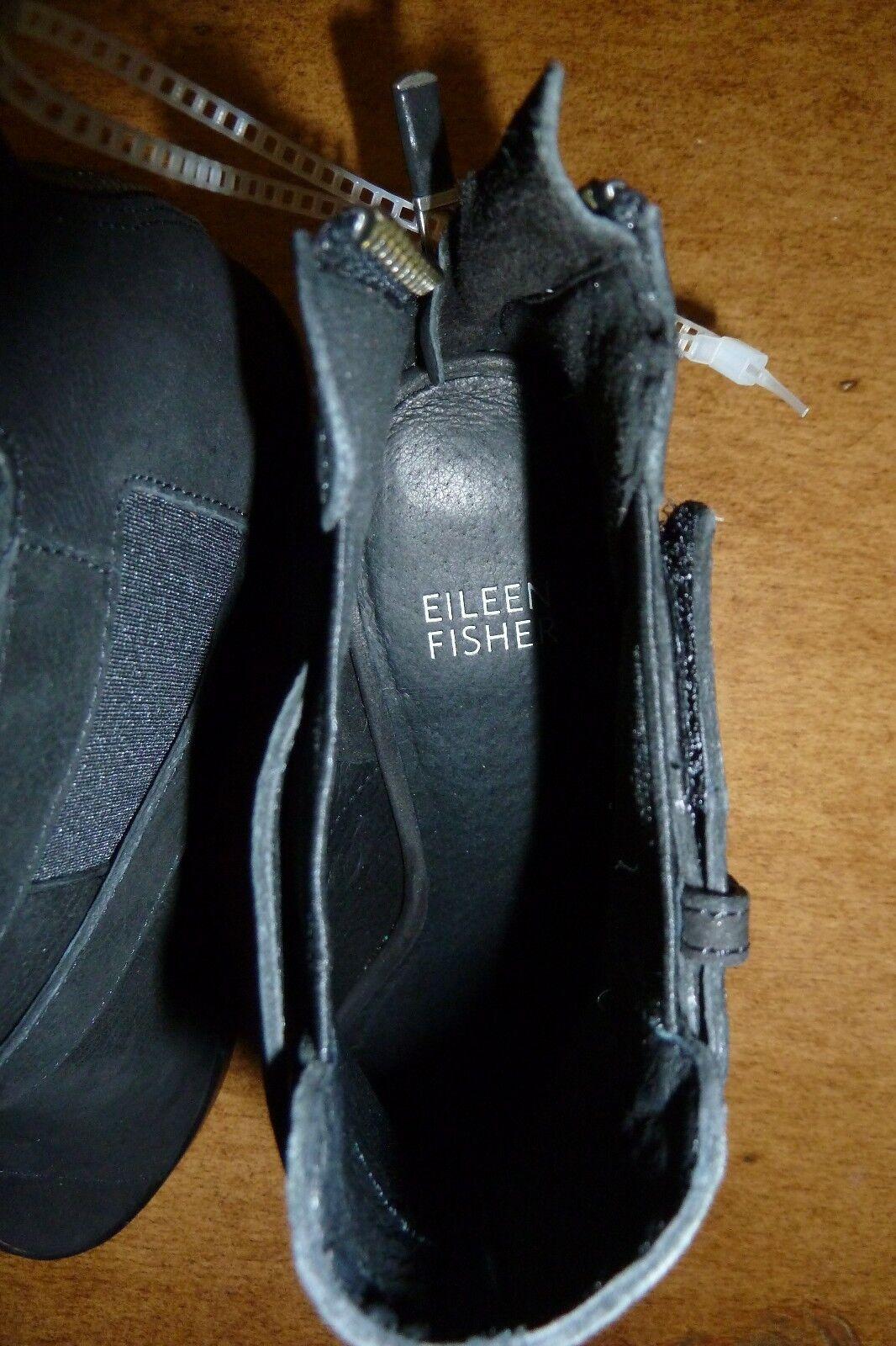 Lista nueva EILEEN FISHER Puntera Abierta Tobillo Tobillo Tobillo botas Nubuck Negro 7 93e103