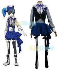 Black Butler Book of Circus Ciel Phantomhive Cosplay Costume Cap Shirt Vest Apro