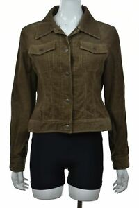 Vince-Womens-Jacket-Size-M-Brown-Corduroy-Softshell-Long-Sleeve-Cotton-Casual