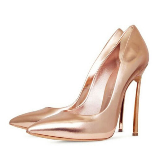 Womens High Heels Metal Heel Stiletto Leather Pointed Toe Party Pumps Big Size