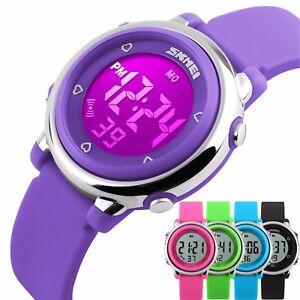 Kids-Boys-Girls-LED-Digital-Sports-Wrist-Watch-Chrono-Waterproof-Stopwatch-AU