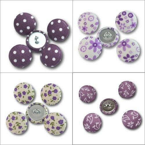 2cm Botones cubierto de tela-Púrpura puntos Flores Hojas