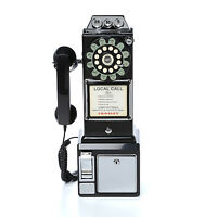 Vintage Pay Phone Black Old Style Retro Look Telephone Coin 1950 Payphone
