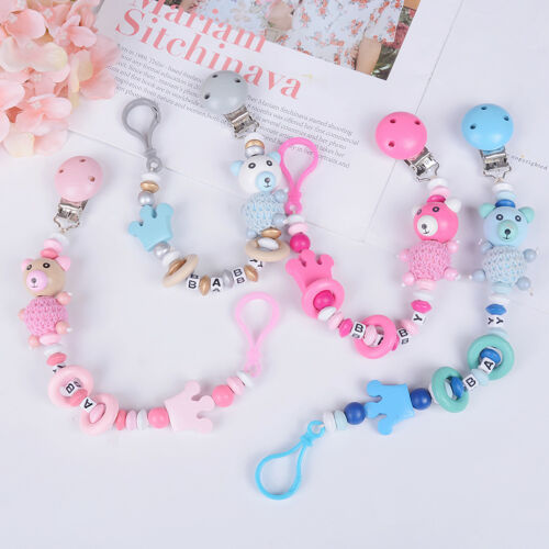 Baby Pacifier holder chain cartoon baby soother toys wooden beawr