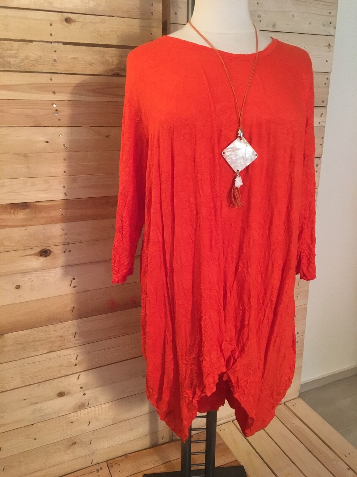 Zedd... Plus  Long-Tunica vestito, Crinkle-LOOK taglia 46-50 (2), arancione-rosso, con catena