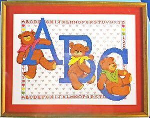 Counted-Cross-Stitch-Baby-Nursery-Sampler-Kit-ABC-Teddy-Bears-New-Vintage-1986