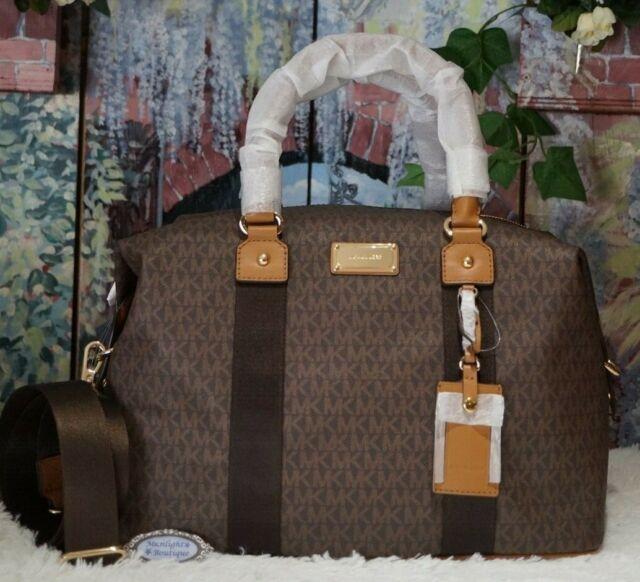 Michael Kors Travel Weekender Brown Pvc Large Carryall Duffle Bag Womens