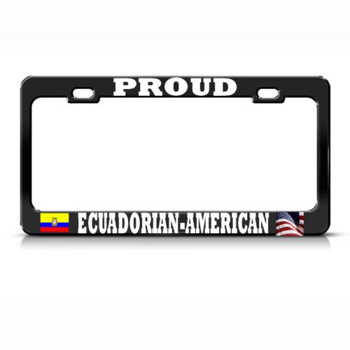 ECUADORIAN AMERICAN FLAGS BLACK License Plate Frame ECUADOR PRIDE SUV Auto Tag