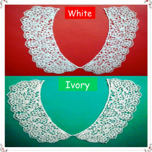 Vintage Venise Lace Applique Collar White Cotton Dress Trim 2pc 1774a