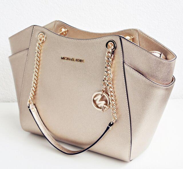 d468c7ca7fc1 Michael Kors Bag Handbag Jet Set Travel Chain Tote Bag Saffiano Pale Gold  New