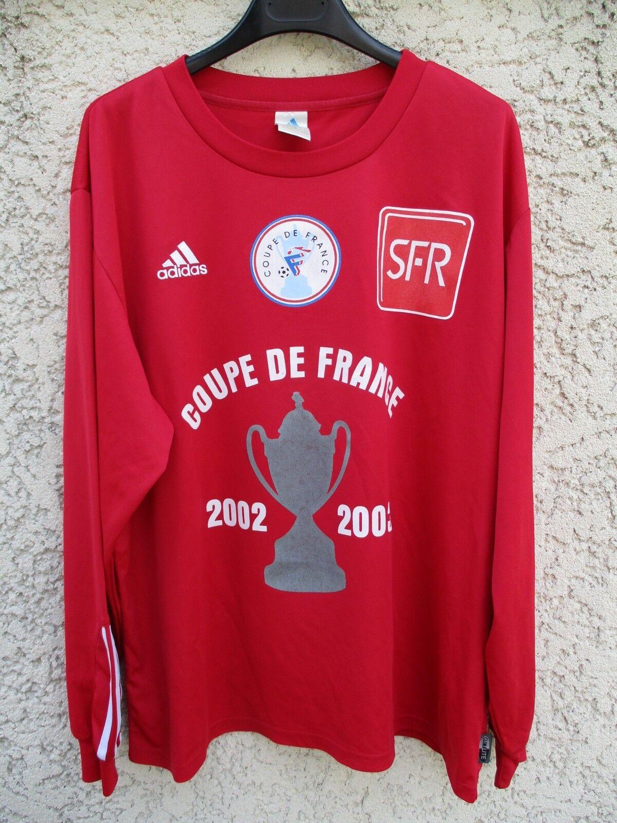 Maillot COUPE DE FRANCE 2003 porté manches n°6 rouge vintage ADIDAS manches porté longues XL 25f3c5