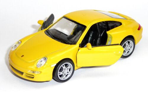 Modello di auto 1:37 PORSCHE 911 997 Carrera S circa 12 cm giallo di Welly Merce Nuova