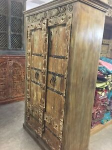 Image Is Loading Antique Old Doors Armoire Indian Furniture Iron Storage