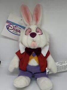 "Disney The White Rabbit Beanbag Plush Retired 9"" With Tags"