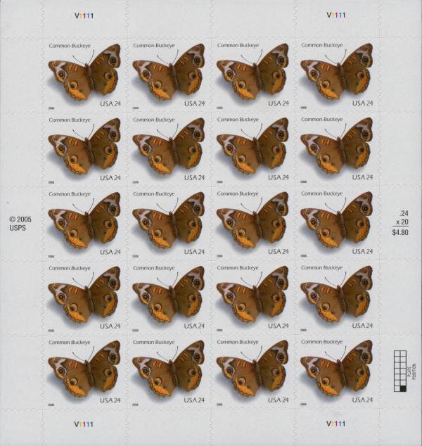 2006 24c Common Buckeye Butterfly, Sheet of 20 Scott 40