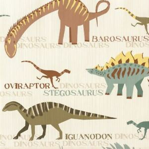 Details about Dinosaur Animal Print Wallpaper Kids Bedroom Natural  Multicoloured AS Creation