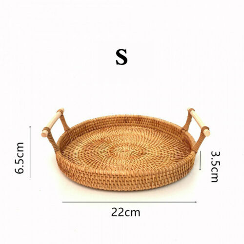 Rattan Bread Basket Round Hand-Woven Tea Tray With Handles For Serving Dinner