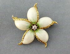 Antique Art Nouveau 14K Gold Diamond White Flower Brooch Pin Pendant