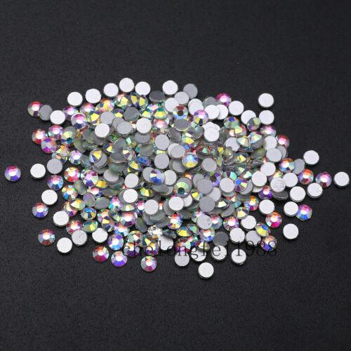 Claro como el cristal AB blanco rhinestone del no Hotfix Nail Art decoración DIY