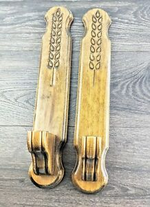 2-Vintage-Wood-Wooden-Wheat-Pattern-Candlestick-Holders-Wall-Sconces-17-75-034-H