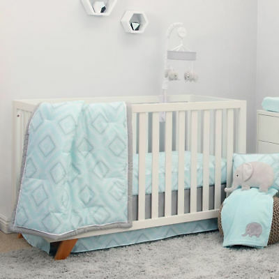 Grey Diamond Print 8 Piece Crib Bedding, Gray And Mint Green Baby Bedding