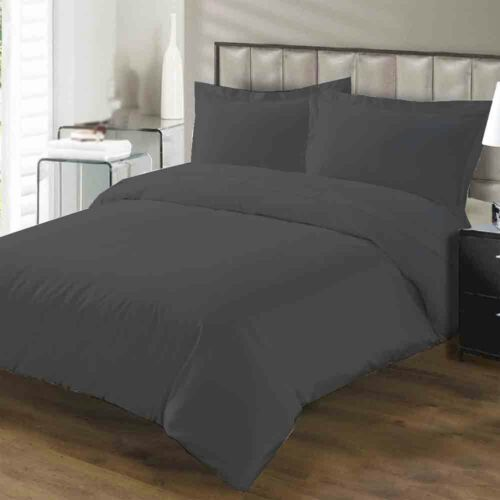LUXURY 50//50 PLAIN DYED FITTED BED SHEETS PILLOW CASES S//KING DOUBLE SINGLE