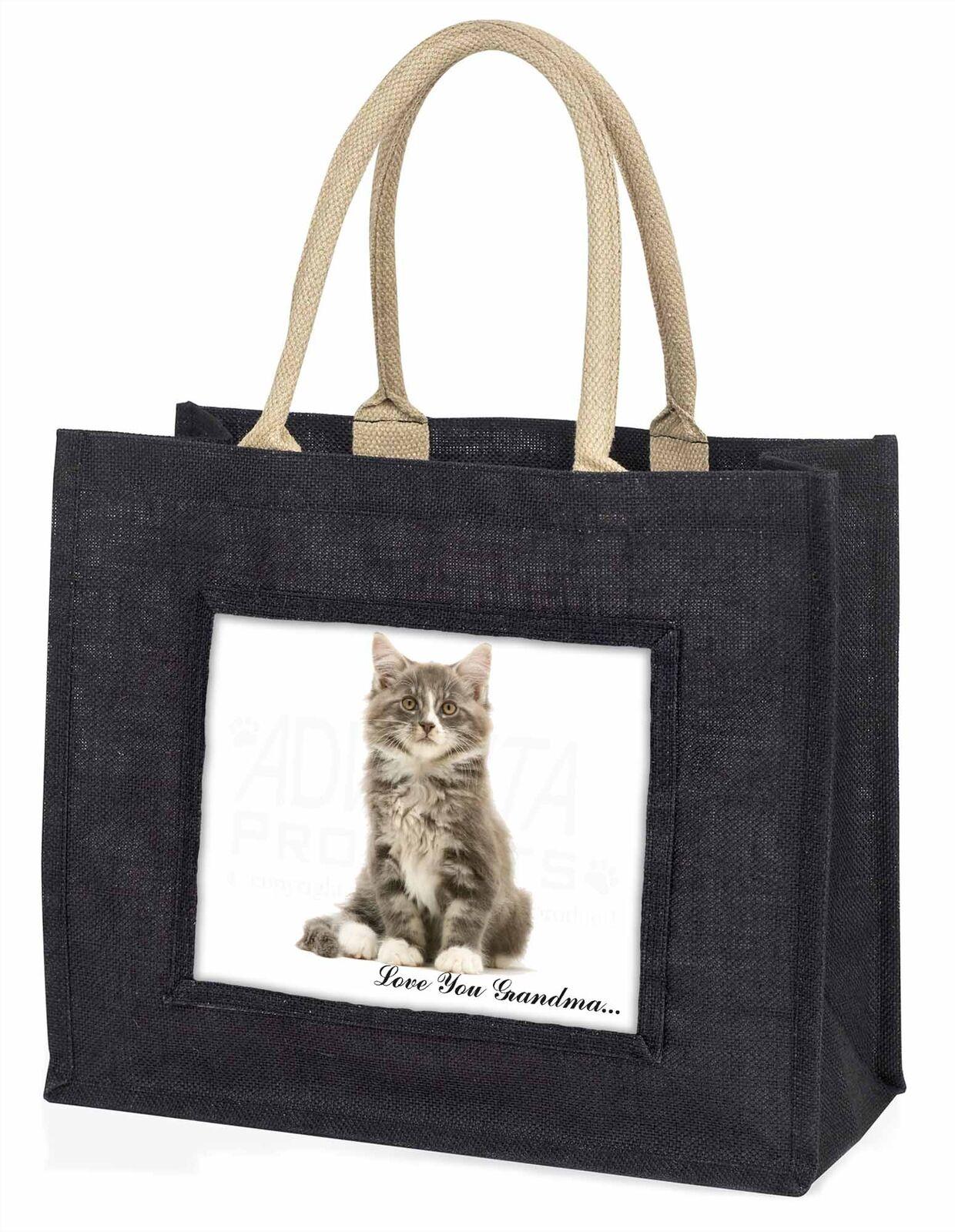 Silver Tabby Cat 'Love You Grandma' Large Black Shopping Bag Chris, AC-187lygBLB