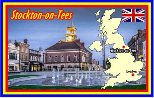 UK SOUVENIR NOVELTY FRIDGE MAGNET STOCKTON ON TEES GIFTS SIGHTS FLAG