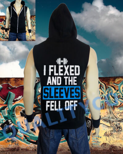 Men/'s I Flexed and the Sleeves Fell Off Vest Zipper Hoodie Tank Top Gym Workout