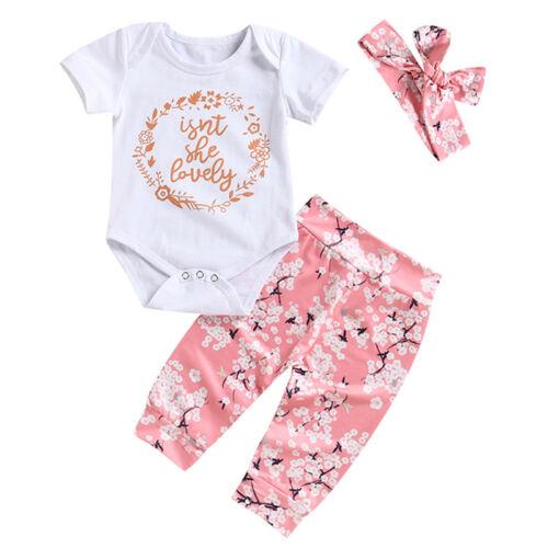 Newborn Baby Girl Cotton Romper Bodysuit Jumpsuit Outfit Flower 3pcs Set Clothes