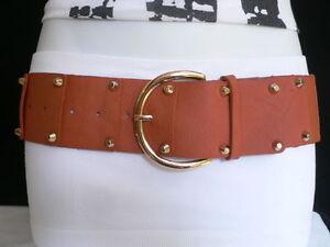 Women Belt Hip Waist Black Wide Faux Leather Rusty Silver Metal Buckle Size S M