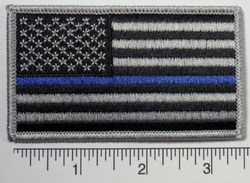 """Thin Blue Line American Flag BLUE LIVES MATTER POLICE Embroidered Patch 3.5x2/"""""""