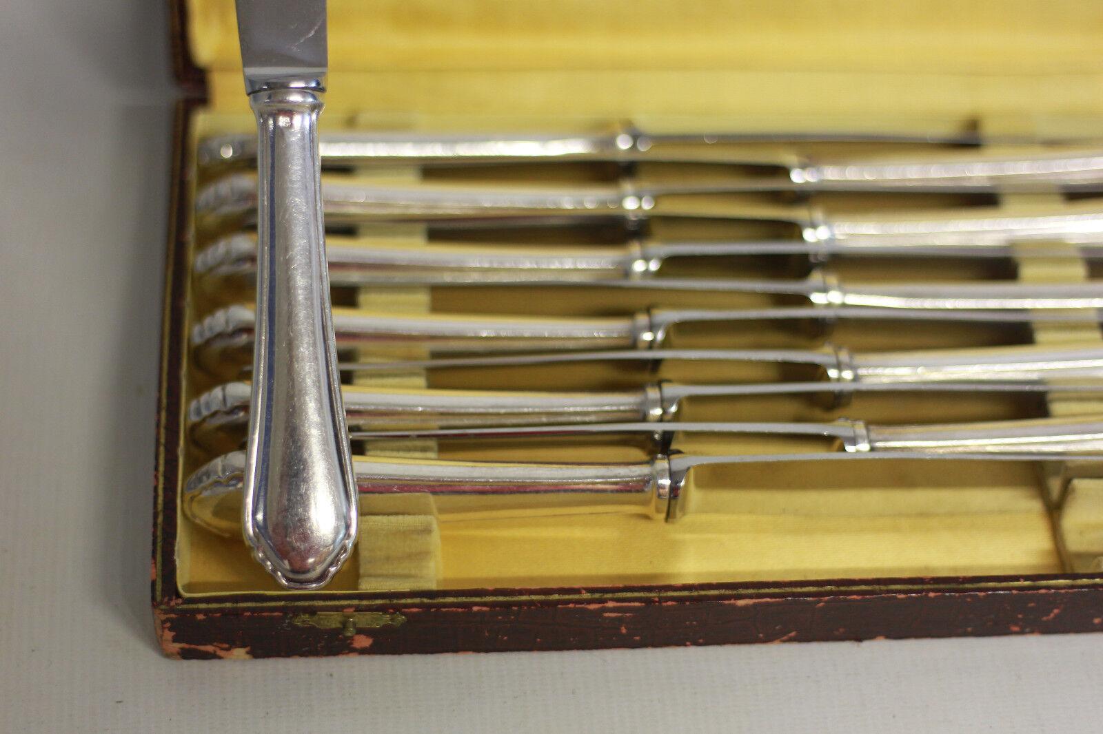12 couteaux NOGENT métal argenté lames inox