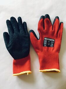 12 Pairs Warrior 0111SG Supa Latex Coating Knitted Polyester Grip Safety Gloves