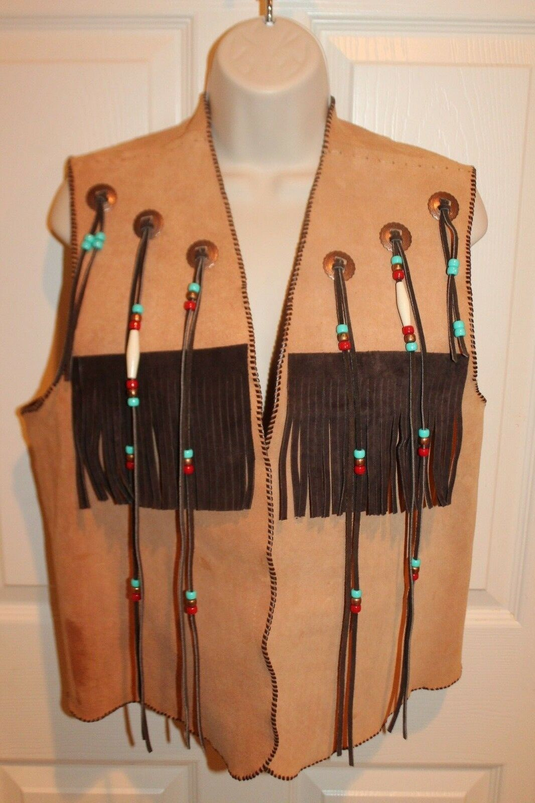 Womens Handmade Stitched Suede Leather Concho Beaded Fringe Open Front Vest Sz M