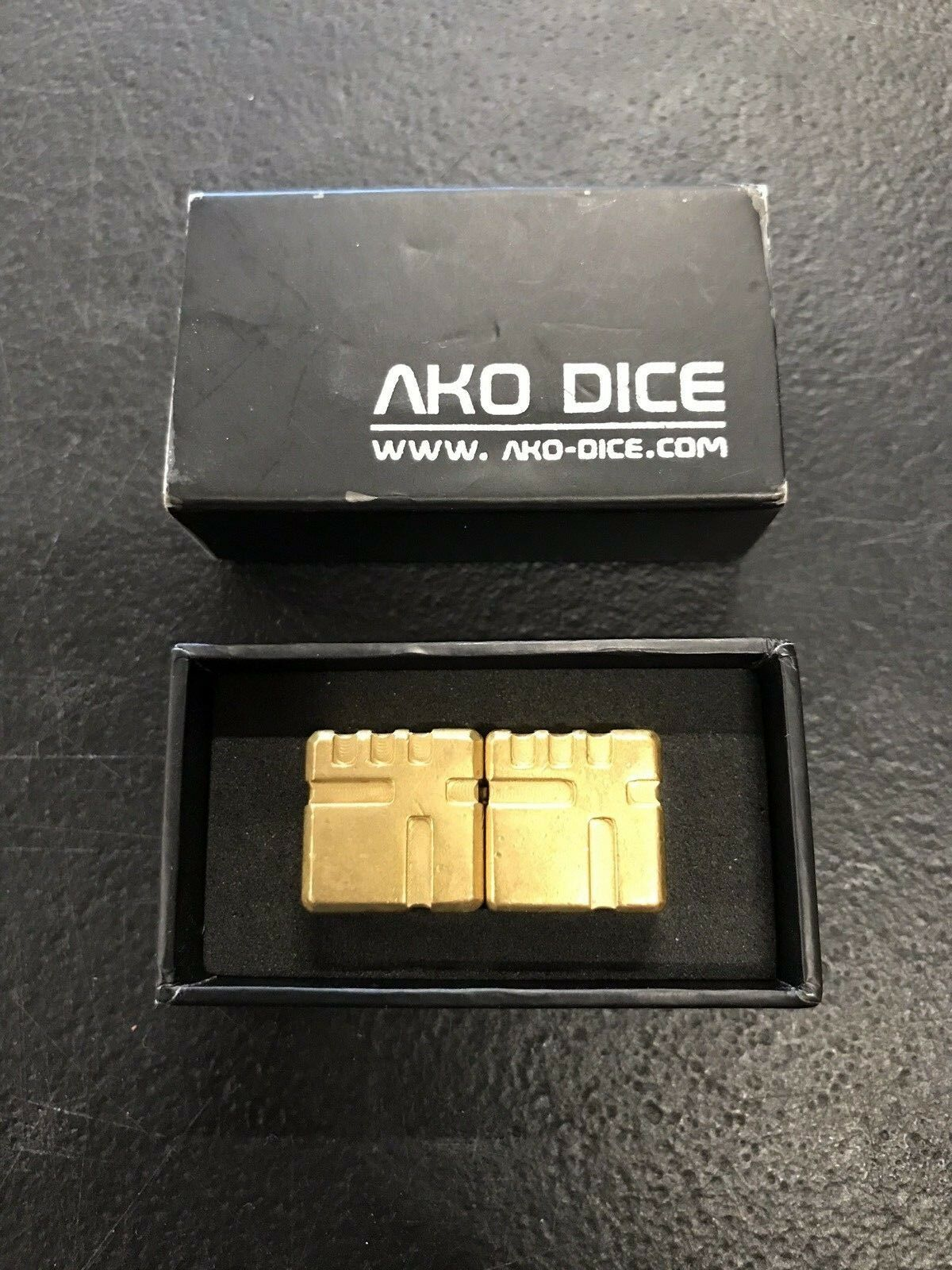 Six-Sided Metal AKO gold Dice Box Set
